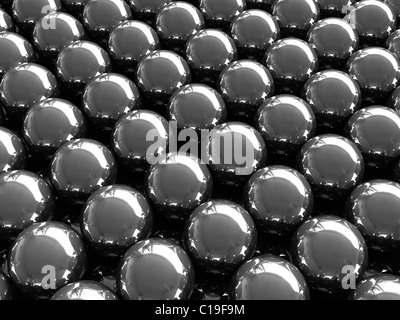 3d render of abstract background consist from metal balls - Stock Photo