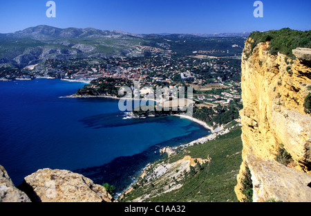 France, Bouches du Rhone, Cassis city view from the Canaille Cape - Stock Photo