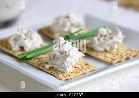 Close up of mackerel and walnut pate servings on crackers on a white plate with white background - Stock Photo