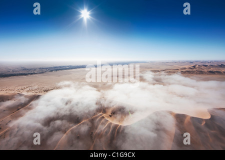 Aerial view of sand dunes of the Namibian desert - Stock Photo