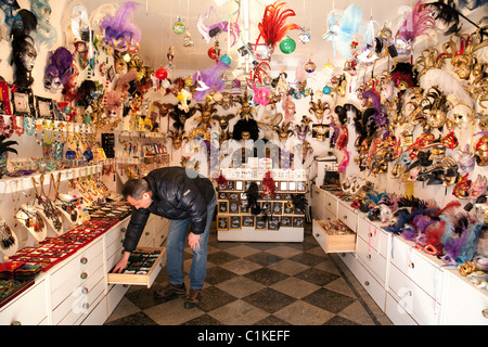 A mask shop in Burano, Venice, Italy - Stock Photo