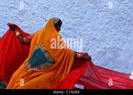 India, Rajasthan State, Cotton Strips Drying for Sari Fabrication - Stock Photo