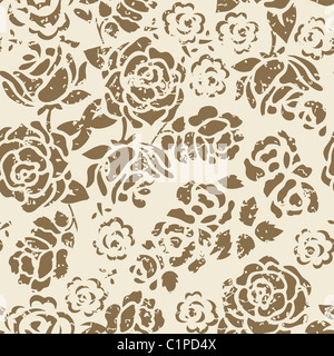 Grunge Seamless Floral Pattern - Stock Photo