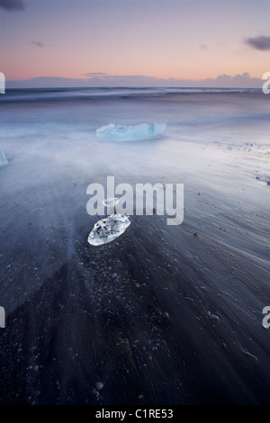 Icebergs on black beach with the tide washing around them in Iceland - Stockfoto