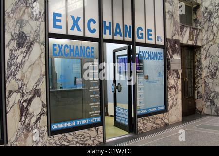 bureau de change 0 commission money exchange sign in prague stock photo royalty free