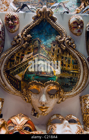 Traditional venetian carnival masks on display, Venice, Italy - Stock Photo