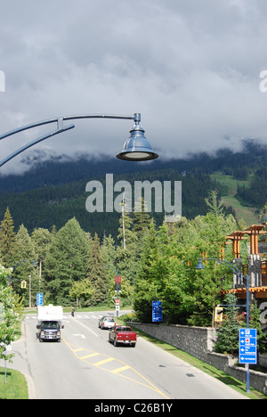 lamp over a road in Whistler - Stock Photo