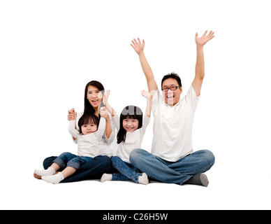 Happy Asian Family isolated on white - Stockfoto