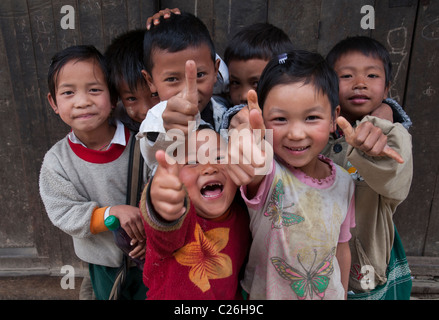 group of children pausing. Nahmsan town. Northern Shan State.  Myanmar - Stock Photo