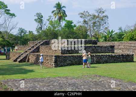 Tourists visiting Izapa archaeological site, Chiapas, Mexico - Stock Photo