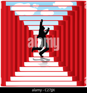 vector silhouette of a businessman with geometric design - Stockfoto