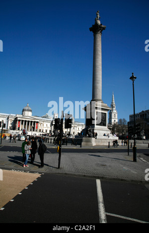 Nelson's Column, National Gallery and St Martin-in-the-Fields church in Trafalgar Square, London, UK - Stock Photo