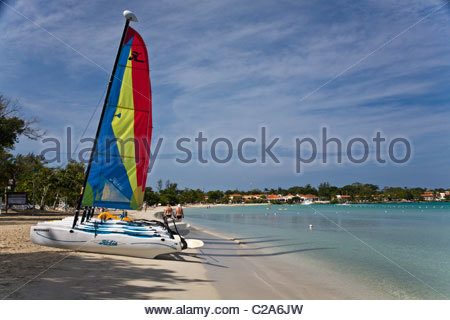 Sailboats on Negril Beach. - Stock Photo