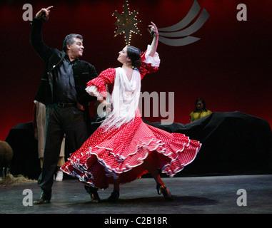 Jaime Coronado, co-artistic director Spanish Dance Society, Flamenco with dancer from Spanish Dance Society, Flamenco, - Stock Photo
