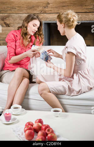 Woman borrow money - Stock Photo