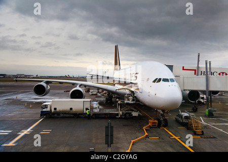 England, London, Heathrow Airport, Airbus A380 on the runway - Stock Photo