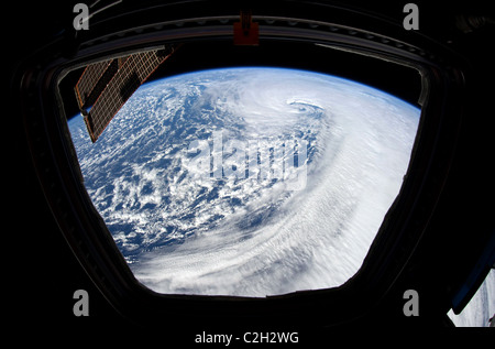 Earth and North Pacific Ocean viewed from the International Space Station. - Stock Photo