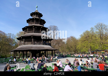 beer garden chinesischer turm tower englischer garten park munich stock photo royalty free. Black Bedroom Furniture Sets. Home Design Ideas