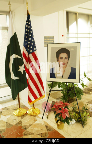 Tribute book signing to Benazir Bhutto, Prime Minister of Pakistan who was assassinated on December 27, 2007, after - Stock Photo