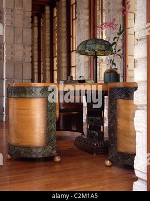 Storer House, Los Angeles, California, USA. 1923 furniture - Stock Photo