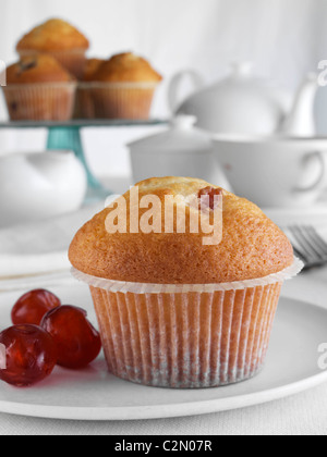 Breakfast cherry muffin with fruit and tea set - Stock Photo