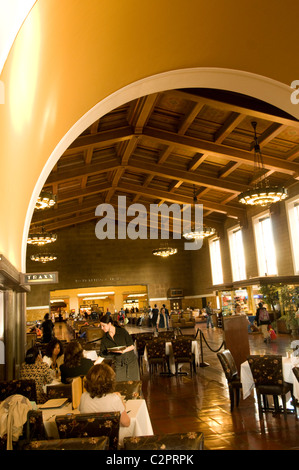Lobby of Union Station, historical building in downtown Los Angeles, Southern California, USA - Stock Photo