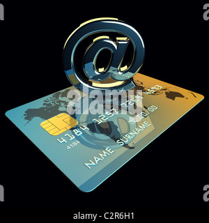 Credit card and arobase sign on black background , 3d illustration - Stock Photo