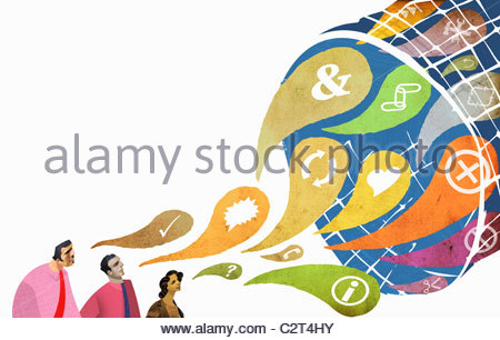 Businessmen and symbols flowing into net - Stockfoto