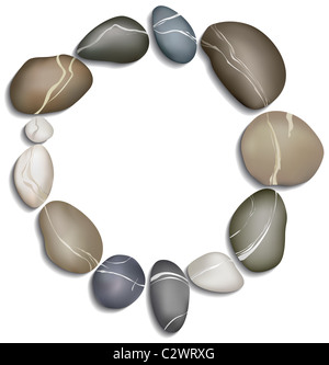 Circle of twelve pebbles on a white background - Stock Photo