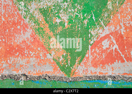 Distressed Paint On Concrete Wall - Stock Photo