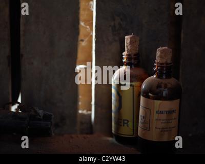 Forgotten poison on the shelf - Stock Photo
