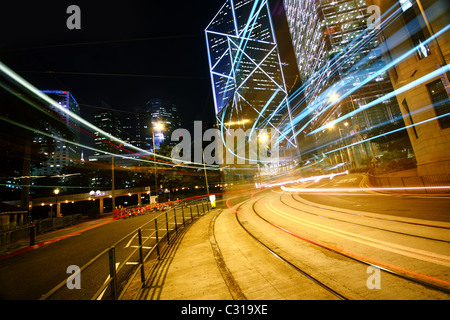 light trails on the modern building background. - Stockfoto