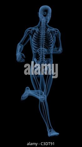3D render of a skeleton running - Stock Photo