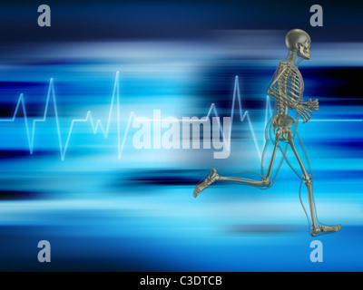 Running skeleton on a background showing heart rate - Stock Photo