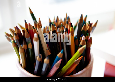 Close-up of container with colored pencils - Stock Photo