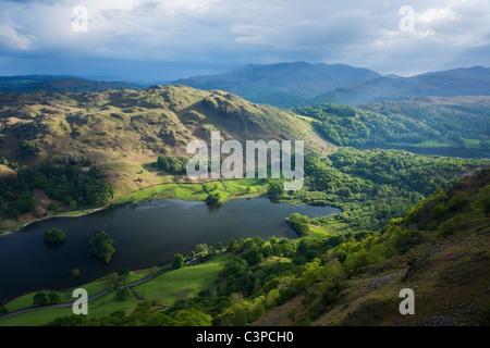 Rydal Water and Loughrigg Fell from Nab Scar with Grassmere beyond. Lake District National Park. Cumbria. England. - Stock Photo