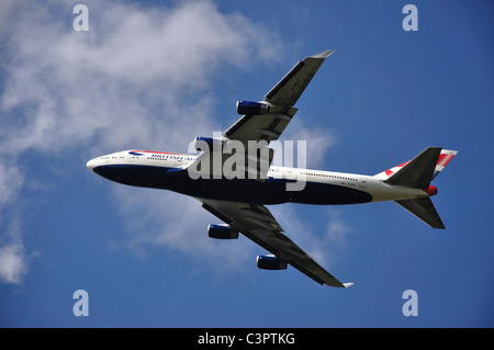 British Airways Boeing 747-400 aircraft taking off from Heathrow Airport, Greater London, England, United Kingdom - Stock Photo