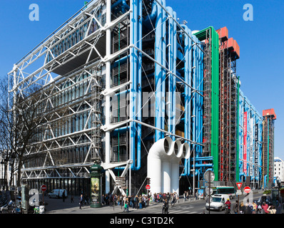 Pompidou Centre, Beaubourg district, 4th Arrondissement, Paris, France - Stock Photo