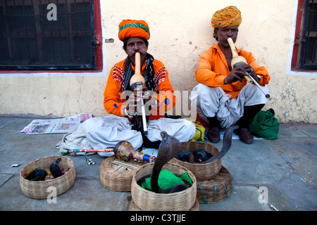 Snake charmers, Jaipur, Rajasthan, India, Asia - Stock Photo