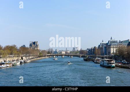 View of the River Seine from the Pont de la Concorde, Paris, France - Stock Photo