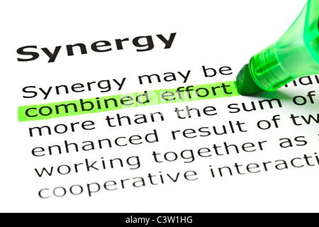 'Combined effort' highlighted in green, under the heading 'Synergy' - Stockfoto