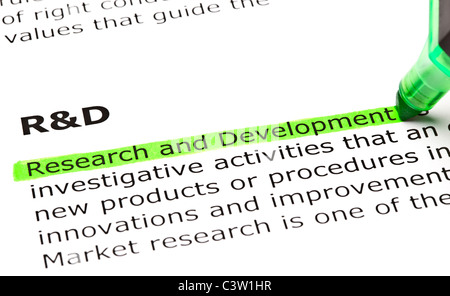 'Research and Development' highlighted in green, under the heading 'R&D' - Stockfoto