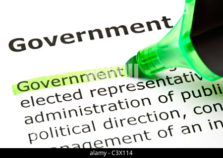 The word 'Government' highlighted in green with felt tip pen - Stockfoto
