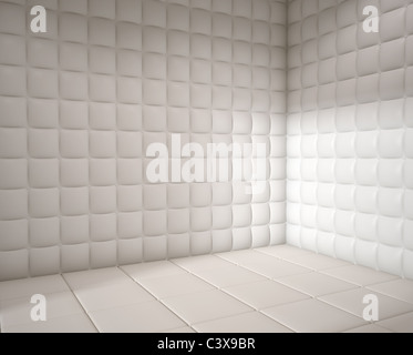 white mental hospital padded room empty with copy space - Stock Photo