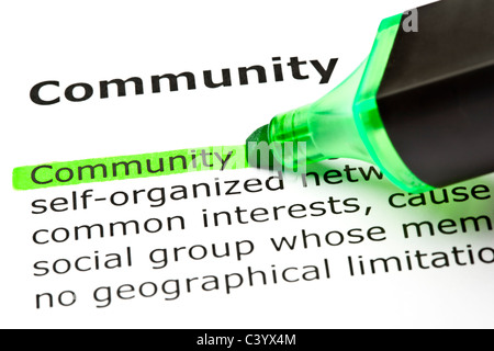 The word 'Community' highlighted in green with felt tip pen - Stockfoto