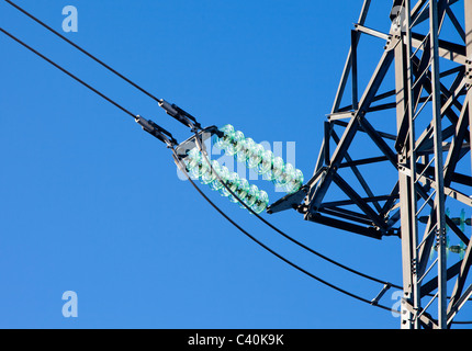 Glass electricity insulators and electricity pylon stock for Power line insulators glass