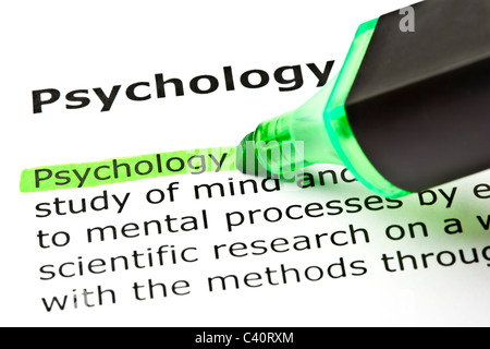 The word 'Psychology' highlighted in green with felt tip pen - Stockfoto