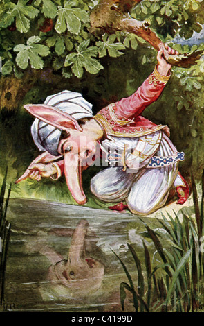 literature, fairy tales, 'Little Longnose', by Wilhelm Hauff, Little Longnose looking at his reflection in the water, - Stock Photo