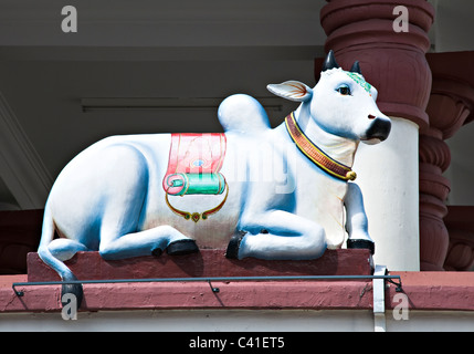 Sacred Cow Sculpture on an Exterior Wall of the Hindu Sri Mariamman Temple Chinatown Republic of Singapore Asia - Stock Photo