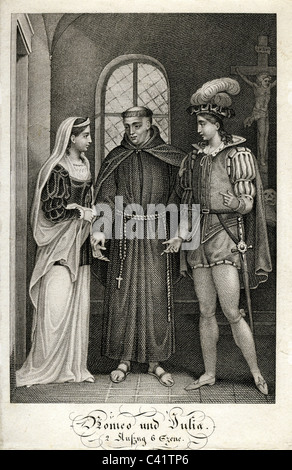 Shakespeare, William, 23.4.1564 - 23.4.1616, English poet, works, 'Romeo and Juliet' (1595), 2nd act, 6th scene, - Stock Photo